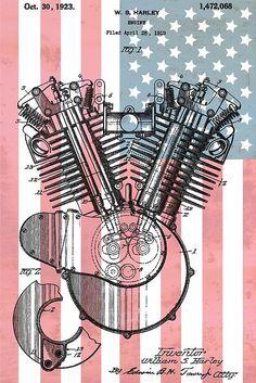 Harley Davidson Engine Patent American Flag