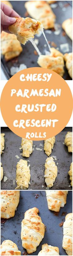 Cheesy Parmesan Crusted Crescent Roll Recipe - Stuffed with mozzarella cheese, then slathered with butter and Italian spices, and then topped with parmesan cheese! Baked to cheesy perfection. We love our crescent recipes!
