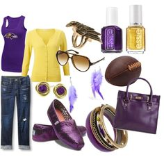 Baltimore Ravens - fan fashion.... I don't have a team but if I did I would wear an outfit like this.