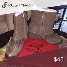 Naughty Monkey Swing  Low Taupe Ankle Boots Naughty Monkey Swing Low Taupe Ankle Boots. New. Never Worn  Size 7.5. Fits like a 7.  Love them just to small.  Thank You 😊 naughty monkey Shoes Ankle Boots & Booties