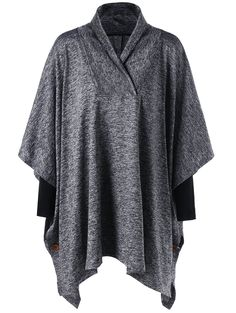 Shawl Collar Plus Size Tunic Top - GRAY 5XL
