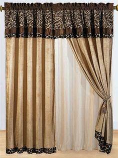 8 Pc Modern Safari - Zebra - Giraffe Print Brown Micro Fur Curtain Set: Amazon.com: Home & Kitchen