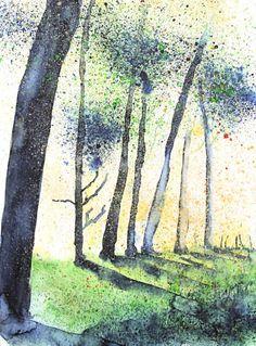 "Aquarell ""Morning in the Woods""  http://www.fotografie-und-malerei.de/malerei/bilder-in-aquarelltechniken/"