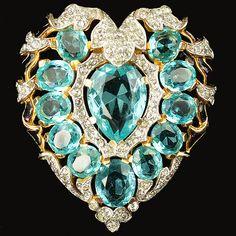 Trifari 'Alfred Philippe' Aquamarine Heart Pin Clip