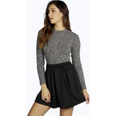 Boohoo Aya Scuba Box Pleat Skater Skirt (€13) ❤ liked on Polyvore featuring skirts, black, circle skirt, midi skater skirt, black skater skirt, skater skirt and maxi skirt