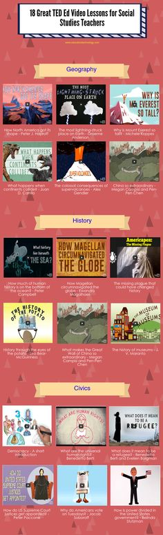 18 Great TED Ed Video Lessons for Social Studies Teachers I love that these are something different than my other pins with books! I love educational videos and kids do too! It is cool that they can learn about random geography topics through fun videos! 7th Grade Social Studies, Social Studies Classroom, Social Studies Activities, History Classroom, Teaching Social Studies, History Teachers, Teaching History, Grade 8 Classroom, Geography Classroom