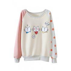 Cartoon Cat Print Polka Dot Color Block Raglan Sleeve Sweatshirt ($29) ❤ liked on Polyvore featuring tops, hoodies, sweatshirts, colorblock top, long tops, raglan sleeve sweatshirt, round top and cotton sweatshirt