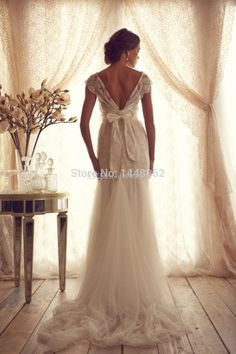 2015 Classic Beautiful Mermaid Wedding Anna Campbell Collection Bridal Gowns Backless Capped Crystal Beads Sheer Dress for Bride
