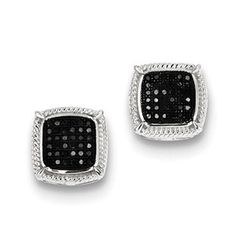 1/4 Carat Black White Diamond Square Earrings In Sterling Silver Available Exclusively at Gemologica.com