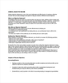 Sample Resume Objectives Free Example Format General Objective Examples  Amazing