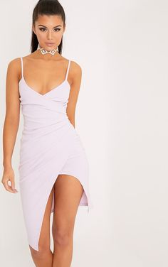 Lauriell Mauve Wrap Front Crepe Midi Dress - Dresses - PrettylittleThing - Shop Dresses - Shop more affordable fashion online now at PrettyLittleThing.com . Free Returns . Free UK Delivery . Order NOW