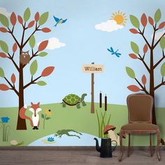 Kids Bedroom Ideas with Tree Wall Mural Stencils