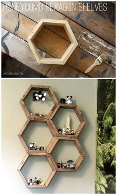 DIY Honeycomb Hexagon Shelves. Great display idea!