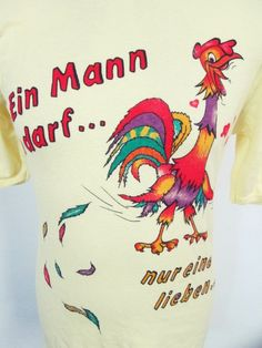 Vintage 1980s Chicken Hen Cock Sex Cartoon Rude Stretch Slim Fit Euro T-Shirt M