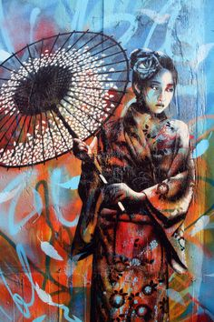 Fragile Geisha Girl Street Mural by Fin Dac