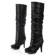 Celebrity Black PU Chunky Heel Movable Boot Leg Closed Toe Thigh Boot