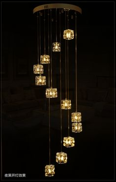 G4 Led stairs Ice cube Glass stone chandelier light 1-5M Extra long fishing glass Suspension light fixture spiral Stairway light