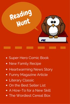 Book Blitz Month Fun: Create a Reading Scavenger Hunt! Print out this handy list or use it as a starting point to customize your own family reading challenge.