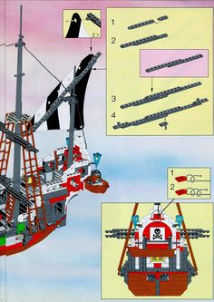 Thousands of complete step-by-step printable older LEGO® instructions for free. Here you can find step by step instructions for most LEGO® sets. Black Mode, Lego Pirate Ship, Lego Boat, Lego Group, Lego Instructions, Lego Sets, Legos, Pirates, Boats