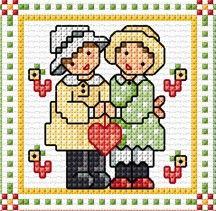 """""""February"""" Sunbonnet Sue and Sal 2018 by Lesley Teare Small Cross Stitch, Cross Stitch Cards, Cross Stitch Baby, Cross Stitching, Cross Stitch Patterns, Lap Quilts, Sunbonnet Sue, Blackwork, Pixel Art"""
