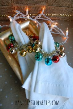 DIY mini ornament wreaths as napkin rings {Handcrafted Parties} by consuelo Diy Christmas Ornaments, Christmas Projects, Christmas Holidays, Christmas Decorations, Christmas Ideas, Merry Christmas, Winter Party Themes, Christmas Entertaining, Craft Activities For Kids