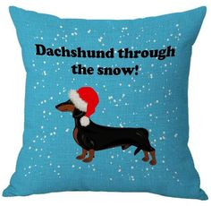 """Dachshund Through The Snow"" Christmas Cushion Cover"