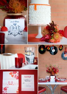 inspired by the 50's - wedding inspiration - red and orange