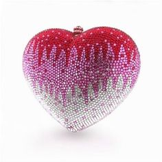 Judith Leiber - pink, red and white heart clutch - (Valentine's Day, fashion, accessory) Little Valentine, Valentine Day Love, Valentines, Valentine Ideas, Judith Leiber, Carrie, I Love Heart, Clear Heart, Beaded Purses
