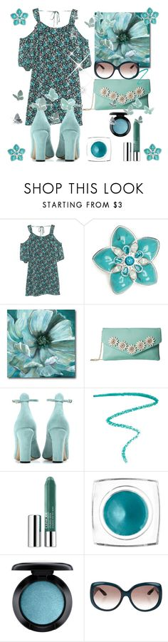 """teal flowers and butterflies"" by greensparkle1 ❤ liked on Polyvore featuring MANGO, Napier, Jessica McClintock, Valentino, Marc Jacobs, Clinique, e.l.f., MAC Cosmetics and Fendi"