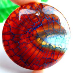 Nice Blue&Palm Red Fire Dragon Veins Agate Round Pendant Bead 45*7mm AM77245  | eBay