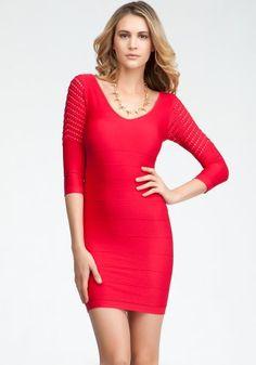 bebe Mesh Sleeve Ottoman Bodycon Dress - http://clothing.wadulifashions.com/bebe-mesh-sleeve-ottoman-bodycon-dress/