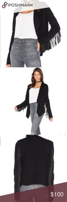 FIFTEEN TWENTY FRINGE SLEEVE JACKET IN BLACK Retails $188 - new without tags! Embrace the best of the fringe trend in the Fifteen Twenty Fringe Sleeve Jacket. From festivals to everyday wear, this is the statement jacket of your dreams.  89% Rayon, 6% Nylon, 5% Spandex Dry Clean Only  Made in USA Fifteen Twenty Jackets & Coats