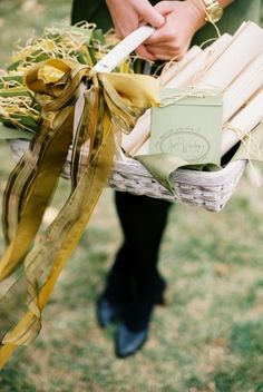3. Something Handmade: Wedding Program Scrolls (you can also decorate a rustic basket to place scrolls in). Such a clever, vintage way to tell everyone about your wedding and easy to make. #modcloth #wedding