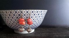 Handmade silver earrings with Coral. www.ateliersb.nl