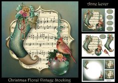 Christmas Floral Vintage Stocking on Craftsuprint - View Now!