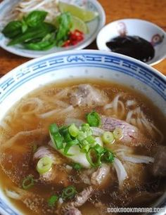 Pho Bo - Vietnamese Beef Noodle Soup - Into the Vietnamese Kitchen recipe Beef Noodle Soup, Beef And Noodles, Beef Pho Soup Recipe, Rice Noodle Soups, Vietnamese Beef Soup Recipe, Pho Soup Recipe Easy, Noodle Bowls, Kitchen Recipes, Cooking Recipes