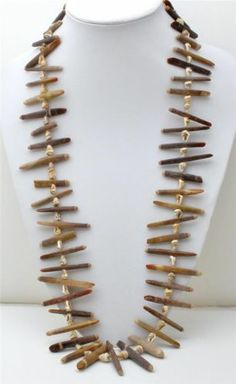"Brown Sea Urchin Vintage Necklace 34"" Long Hand Crafted Shell Jewelry Statement 