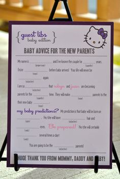 MAD LIBS  BABY shower edition  Hello Kitty by BlushNotes on Etsy, $20.00