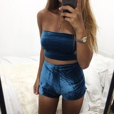 Midnight blue velvet bandeau tube top and high-waisted shorts matching set