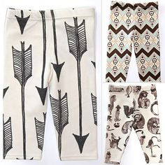 Salt City Emporium is the place to find cool-kids leggings for babies and toddlers. Decorated hand-drawn arrows and Aztec prints as well as woodland animals and mountains, these leggings are perfect for hipsters in training.