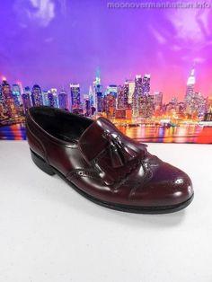 Mens shoes FLORSHEIM Lexington $110 ITALY burgundy kilties Dress Loafers sz 8 M #Florsheim #WingTip