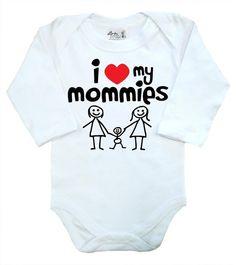 "Lgbt Baby Body /"" I Love My Mummies /"" Langärmlig Strampelanzug Mum ´ S Gay Pride"