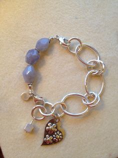 Chalcedony nuggets with .999 FS bracelet and PMC charm