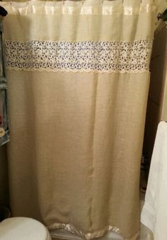 A shower curtain covered with burlap with lace and ribbon accents. You definitely have to use a thick plastic liner to keep it from getting too wet. Burlap Valance, Lace Curtains, Jute Twine, Barndominium, Take Me Home, Dyi, Bathrooms, Ribbon, Country Roads