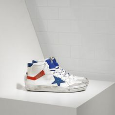 Cheap lebanon Golden Goose 2.12 Sneakers In White Leather With Blue Leather Star Mens Sale