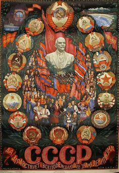 """Long live the all-victorious flag of Leninism. Cold War Propaganda, Communist Propaganda, Propaganda Art, Chinese Propaganda Posters, Political Posters, Political Art, Soviet Art, Soviet Union, Russian Revolution"