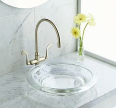 semi-recessed glass vessel sink