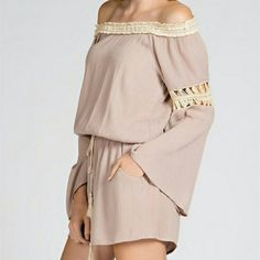The Essential Romper Mocha size S M L!! Fall must have The Romper in a flawless mocha shade Contrast embroidery sleeves Can be worn on shoulders,  off,  and on one NWT No trade Please indicate your size  Available sizes S M L  Material is 60% cotton and 40 % polyester Boutique  Dresses