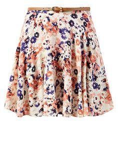 White Floral Print Belted Skater Skirt    New Look