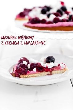Mazurek wiśniowy 'last minute' z kremowym mascarpone, f… Last Minute, Easter Recipes, Raspberry, Blackberry, Sweet Recipes, Waffles, Berries, Cheesecake, Cherry